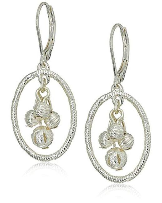 Napier - Metallic Silver-tone Orbital Leverback Drop Earrings - Lyst