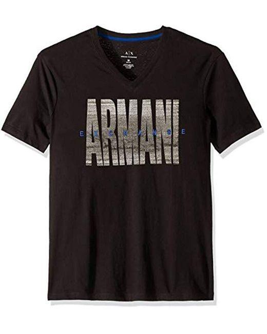 Armani Exchange Black   Contrst V Neck Tee for men