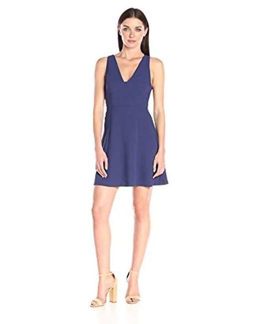 BCBGeneration - Blue V-neck Fit And Flare - Lyst