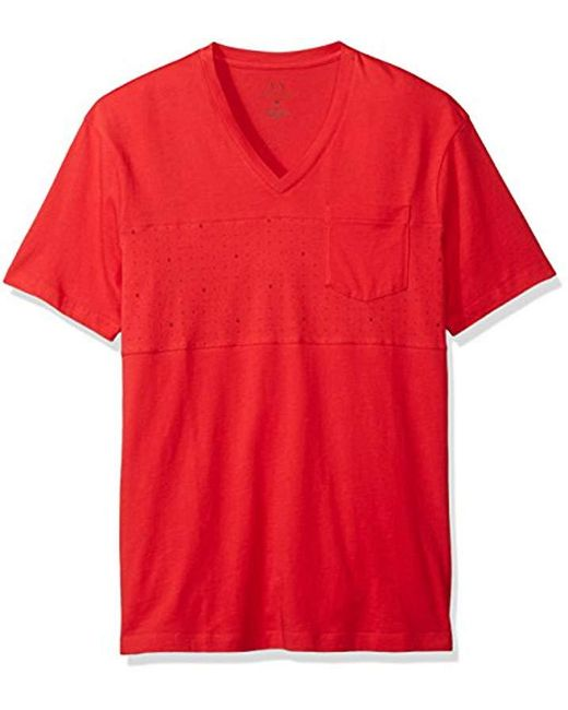 Armani Exchange - Red   X Micro Print Short Sleeve V Neck Tee for Men - Lyst