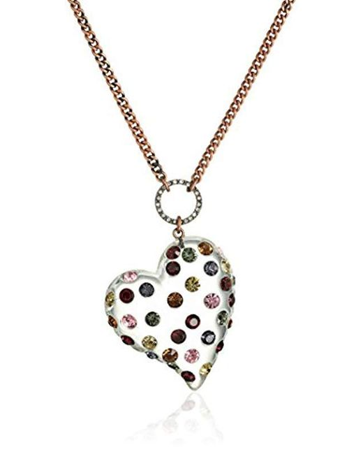 """Betsey Johnson - Metallic """"confetti Mixed Multi-colored Stone Lucite Heart Long Pendant Necklace - Lyst"""