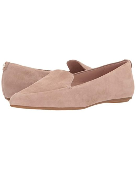 fb354c5f8e49 Lyst - Taryn Rose Faye Silky Suede Loafer Flat in Natural - Save 34%