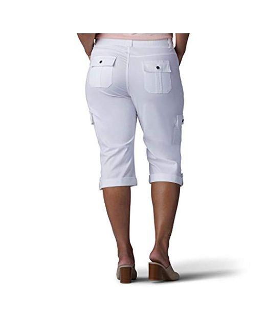 2d6ba434 ... Lee Jeans - White Plus-size Relaxed Fit Skye Knit Waist Cargo Capri Pant  ...