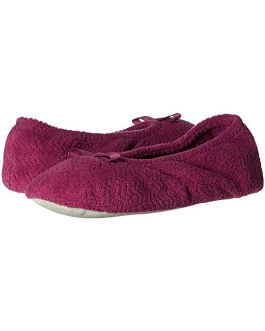 ... Isotoner - Purple Chevron Microterry Ballerina House Slipper With  Moisture Wicking And Fabric Sole For Comfort ... 83ca4b3c0851