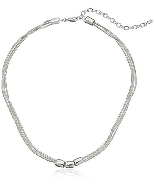Napier - Metallic Classics Silver-tone Beaded Front Necklace - Lyst