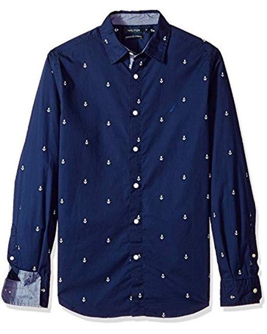 Nautica - Blue Classic Fit Long Sleeve Print Pattern Button Down Shirt for Men - Lyst