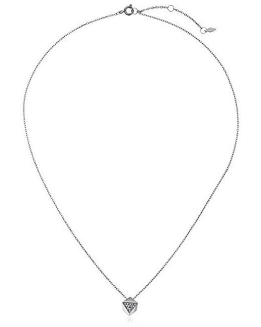 """Fossil - Metallic Vintage Glitz Faceted Nugget Silver-tone Pendant Necklace, 18"""" + 2"""" Extender - Lyst"""
