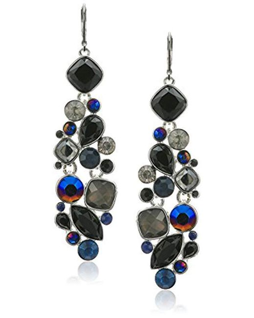 Nine West - Metallic Silver-tone And Jet Multi Drama Chandelier Drop Earrings - Lyst