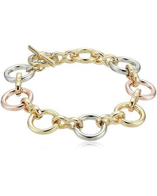Kenneth Cole - Metallic Kenneth Cole New Trinity Rings Tri-tone Link Bracelet - Lyst