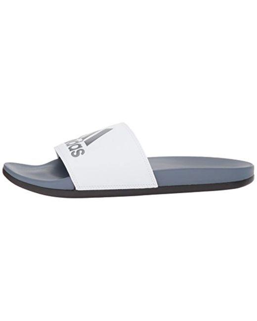 newest 7bb0a 9e218 ... Adidas - White Adilette Cf+ Logo Slide Sandal for Men - Lyst ...