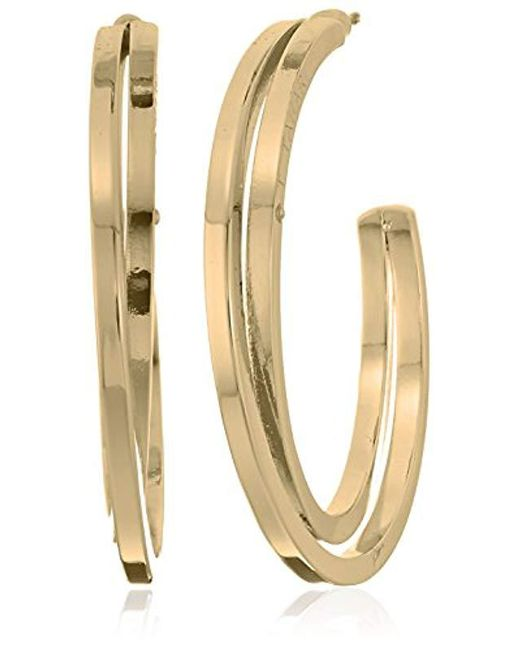 "T Tahari - Metallic ""essentials"" Bright Logo With Cry Cubic Zirconia Stone Hoop Earrings - Lyst"