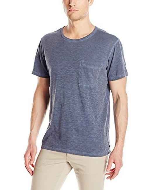 Michael Stars - Blue Oil Wash Short Sleeve Crew Neck Pocket T-shirt, for Men - Lyst