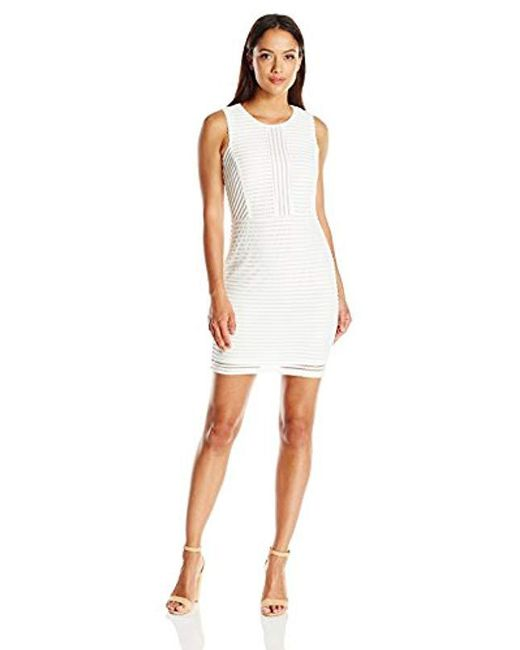 Lark & Ro - White Petite Sleeveless 3d Stripe Sheath Dress - Lyst
