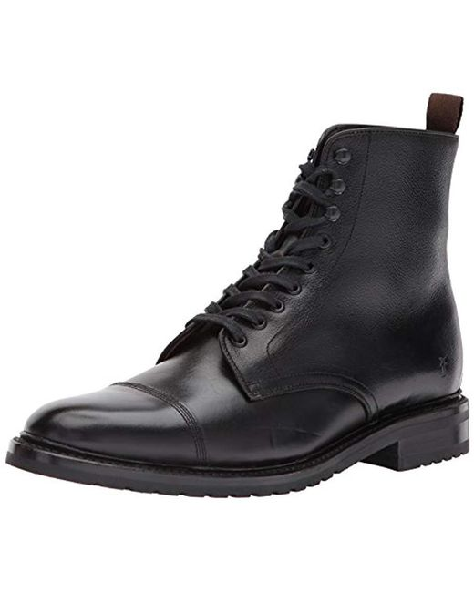 fbced7dd5 Frye - Black Officer Lace Up Combat Boot for Men - Lyst ...