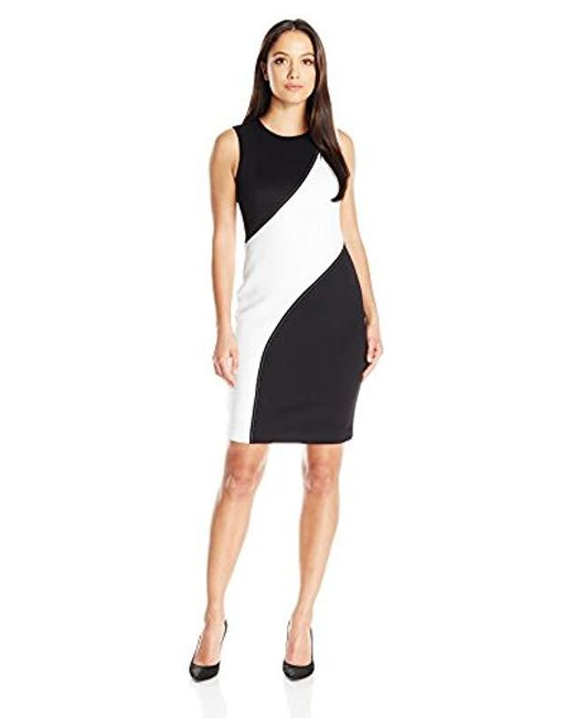 Calvin Klein - Black Petite Colorblocked Sheath Dress - Lyst