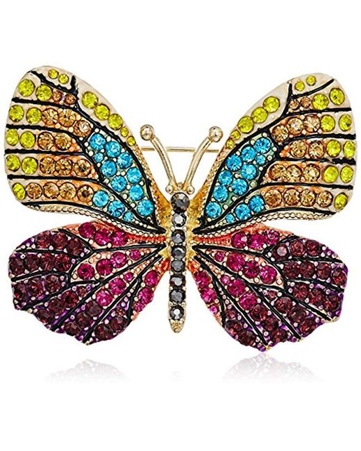 Napier - Multicolor Multi-tone Butterfly Brooch Pin - Lyst