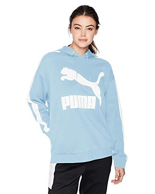 PUMA - Blue Classics Logo T7 Hoodie - Lyst