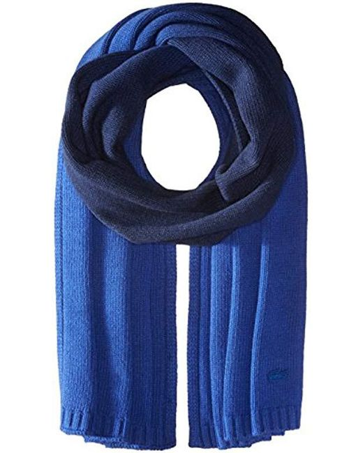 Lacoste - Blue Dip Dyed Wool Jersey Knitted Scarf - Lyst