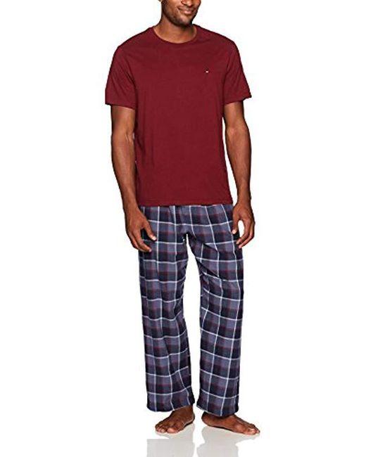 8af88d26 Tommy Hilfiger - Blue Flannel Pajama Pant And T-shirt Set for Men - Lyst ...
