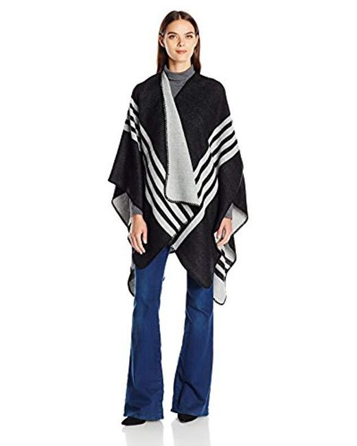 Ellen Tracy - Black Striped Reversible Ruana - Lyst