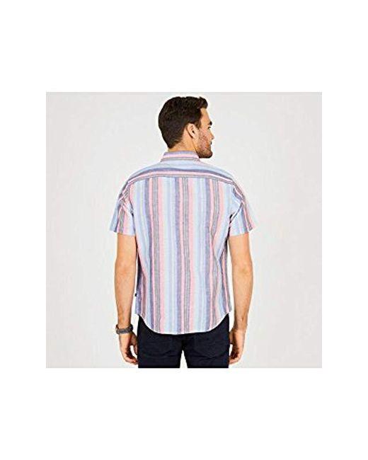ddd24c5555 ... Nautica - Blue Short Sleeve Classic Fit Striped Linen Button Down Shirt  for Men - Lyst ...