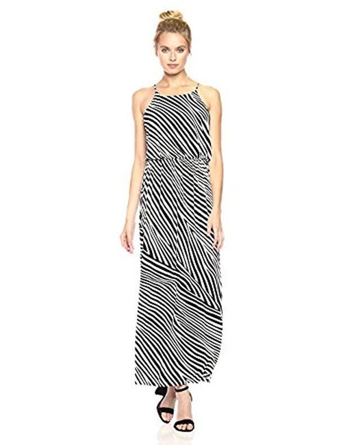 4355946400 Nine West - Black Blouson Maxi Dress Slit - Lyst ...