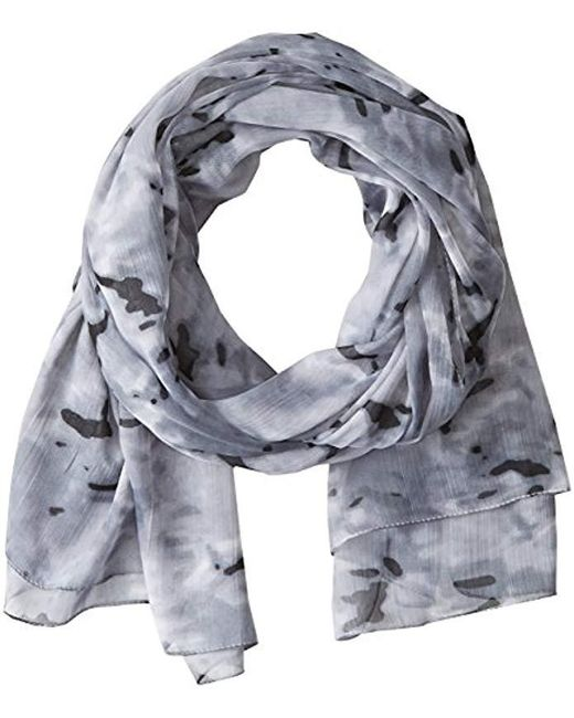 La Fiorentina - Gray Ikat Rose Printed Scarf - Lyst