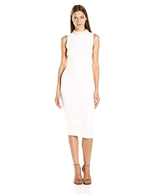 RACHEL Rachel Roy - White Cable Sweater Dress With Beaded Neck - Lyst