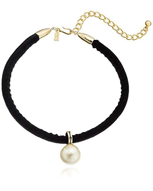 """Kenneth Jay Lane - S 12"""" Black Velvet Choker With Pearl Drop Center And 4"""" Extender Chain Necklace - Lyst"""