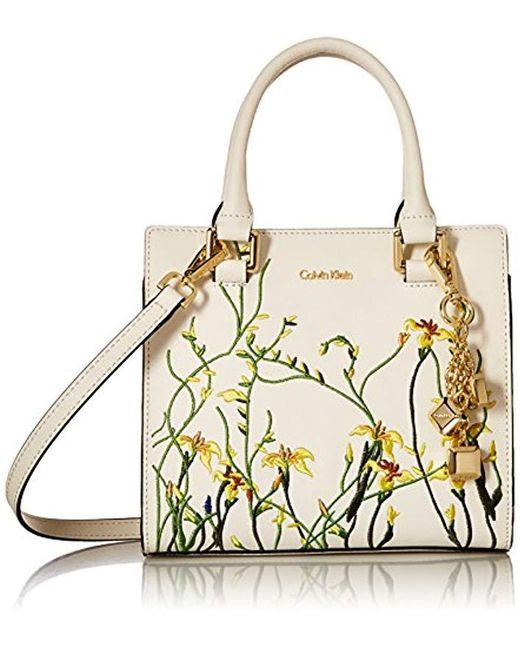 Calvin Klein - White Logan Saffiano Leather Floral Applique Crossbody - Lyst