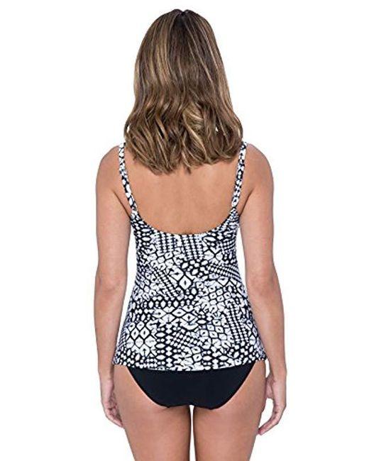 a76e1b60d7c ... Gottex - Black Printed Scoop Neck D-cup Tankini Top Swimsuit - Lyst
