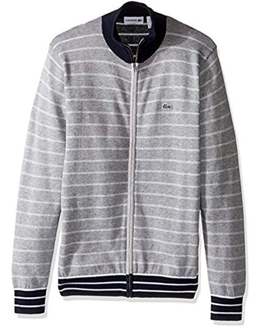 Lacoste - Blue Long Sleeve Double Face Chine Stripe Zip Cardigan, Ah9004-51 for Men - Lyst