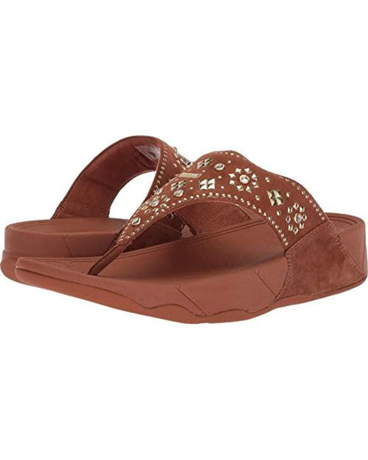 dd1cd07722a5 Lyst - Fitflop Lulu Aztek Stud Toe-thong Sandals-suede in Brown ...