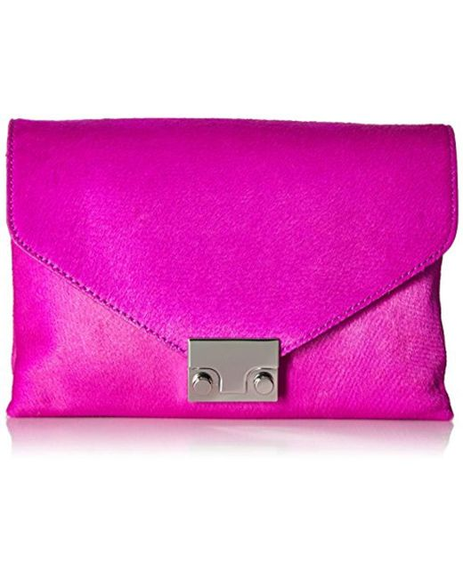 Loeffler Randall - Pink Jr Lock Clutch Haircalf Evening Bag - Lyst
