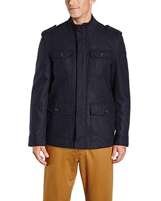 Tommy Hilfiger - Blue Wool-blend Melton Military Jacket for Men - Lyst