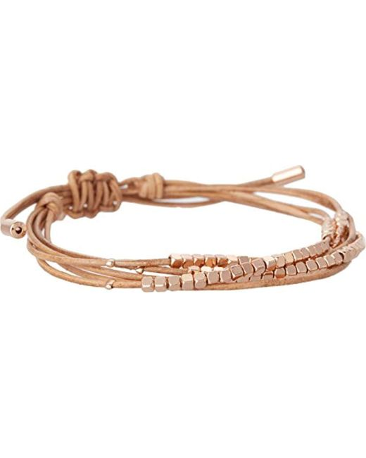 Fossil - Metallic Dainty Rondel Slider Bracelet - Lyst