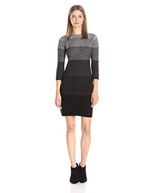 Calvin Klein - Black 3/4 Sleeve Heathered Cable Sweater Dress - Lyst