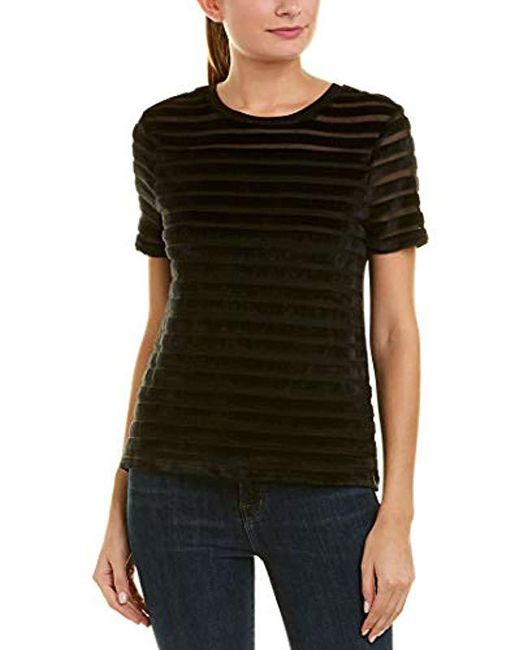 French Connection - Black Bernice Velvet Stripe Jersey Top - Lyst