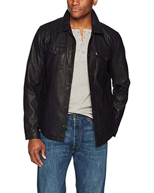 Levi's - Black Smooth Lamb Touch Faux Leather Shirt Jacket for Men - Lyst