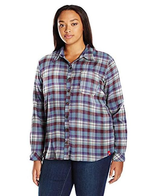 cb67f909cb4 Lyst - Dickies Plus-size Long-sleeve Plaid Flannel Shirt in Blue ...