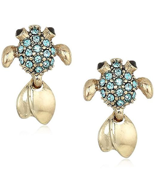 Betsey Johnson - S Gold And Blue Stone Fish Stud Earrings - Lyst