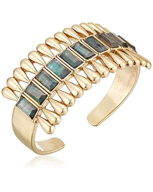 Lucky Brand - Metallic Inlayed Pearl Gold Cuff Bracelet, Gold, One Size - Lyst