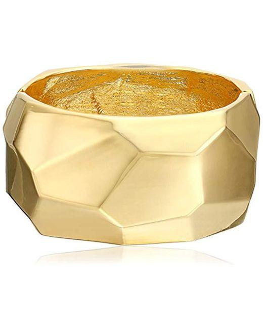 Kenneth Jay Lane - Metallic Polished Gold Geometric Shape Hinged Bangle Bracelet - Lyst