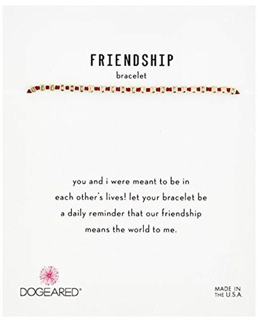 Dogeared - Metallic S Gold Red Friendship Bracelet, 9 - Lyst