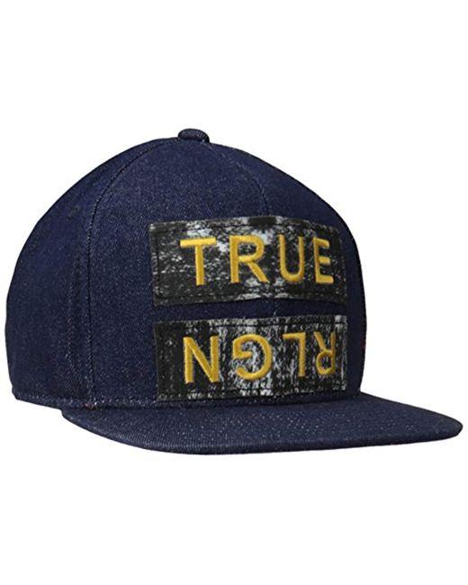 True Religion - Blue Paper Patch Bb Cap for Men - Lyst