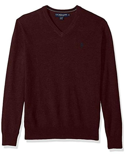 U.S. POLO ASSN. - Purple Stretch Fabric Solid V-neck Sweater for Men - Lyst