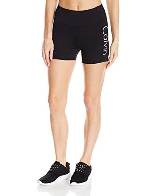 Calvin Klein - Black Performance High Waist Bike Short - Lyst
