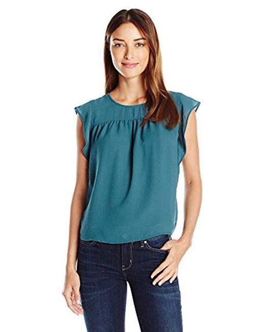 Vero Moda - Blue Marion Sleevelss Ruffle Sleeve Shirt With Contrast Fabric - Lyst
