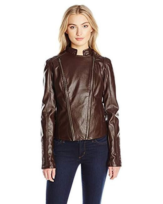 Members Only - Brown Faux Leather Two Zipper Racer Jacket - Lyst