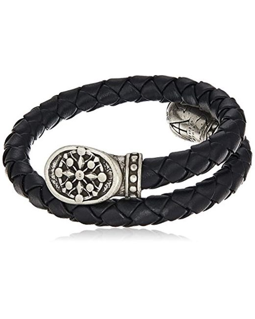ALEX AND ANI - Metallic S Compass Braided Leather Wrap Bracelet for Men - Lyst